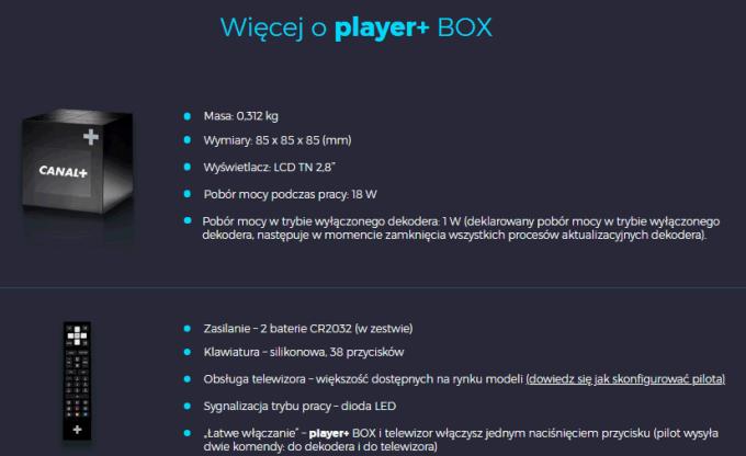 Szczegóły na temat dekodera Player+ BOX