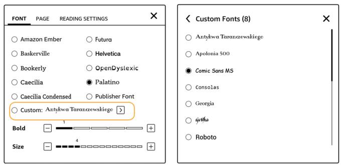 Wybór czcionki w wersji oprogramowania Kindle 5.9.6 i nowszych