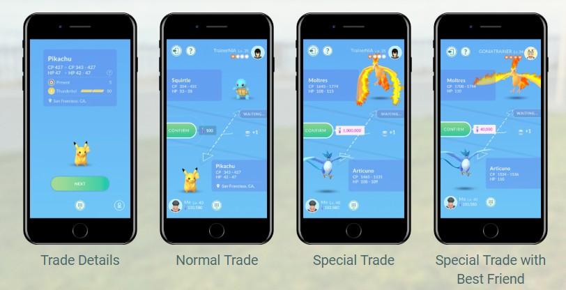 Handel/ wymiana pokemonów ze znajomymi w Pokemon GO