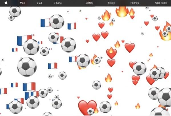 Francuska i chorwacka strona WWW Apple'a z piłkarskim akcentem