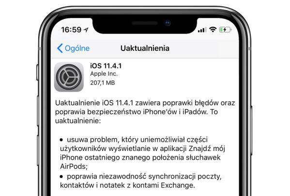 Uaktualnienie systemu iOS 11.4.1 w trybie OTA