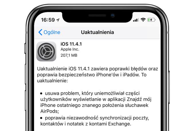 Uaktualnienie iOS 11.4.1 w trybie OTA