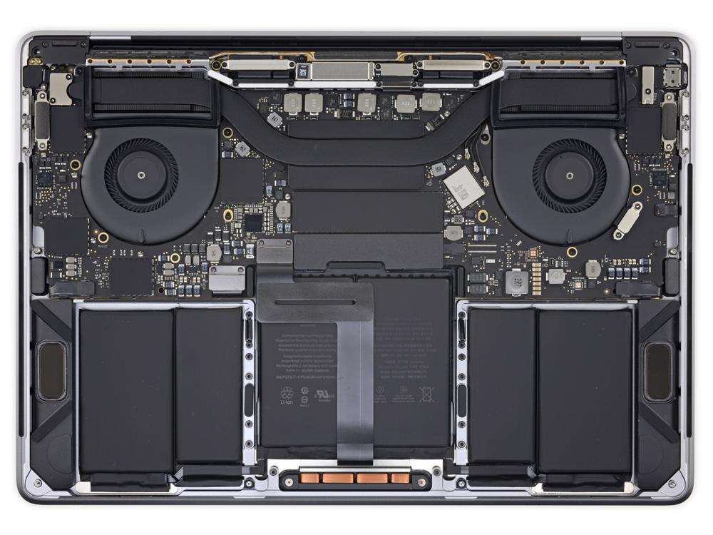 Elementy wewnątrz MacBooka Pro 2018