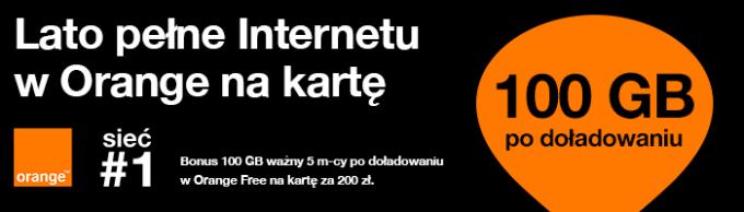 """Promocja doładowań na kartę """"Internet za darmo"""" w Orange (2018)"""