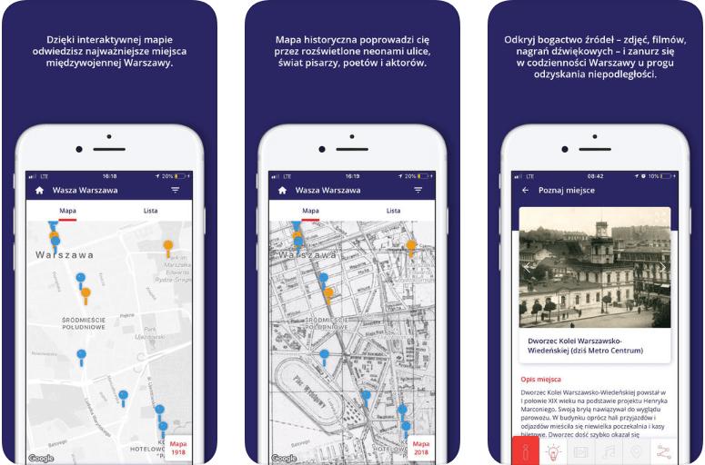 Zrzut ekranu z aplikacji Wasza Warszawa