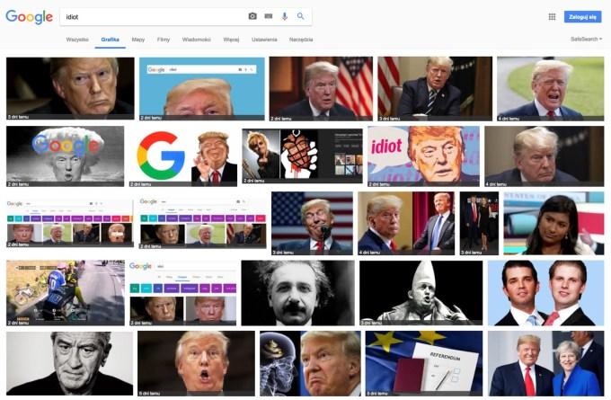 """Wyniki wyszukiwania na frazę """"idiot"""" w Grafice Google (stan na 22 lipca 2018 r.)"""