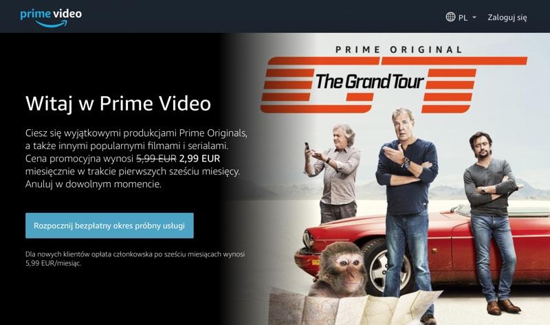 Amazon Prime Video w polskiej wersji językowej (screen strony głównej)