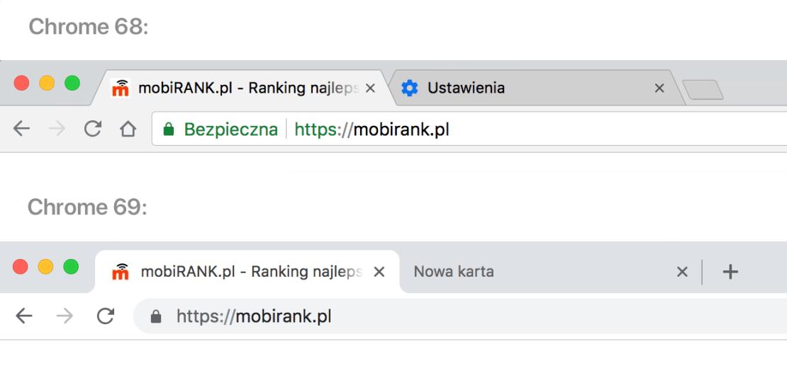Wygląd górnego paska przeglądarki Chrome w wersji 68 (na górze) i 69 (na dole)