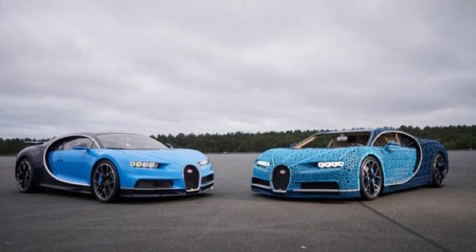 Bugatti Chiron: oryginalny (po lewej) i zbudowany z klocków LEGO (po prawej)