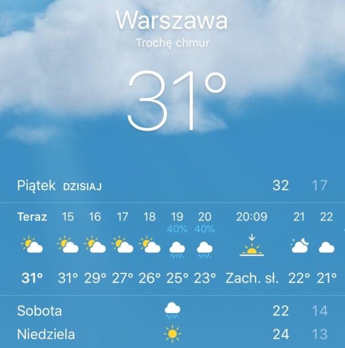 Pogoda w Warszawie piątek 10 sierpnia 2018 r. (screen)