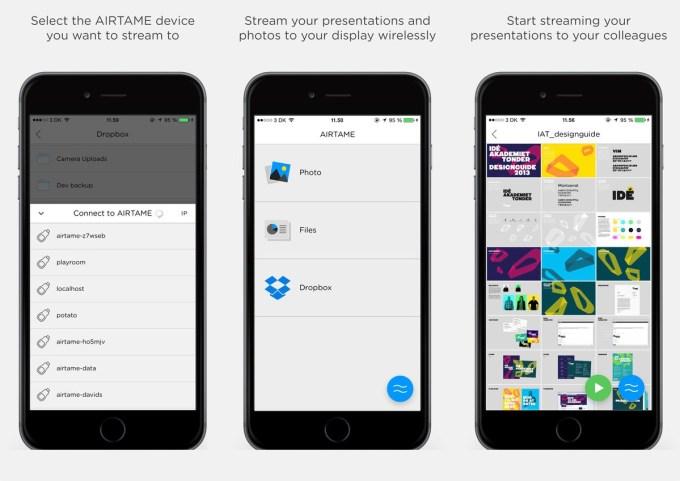 Aplikacja mobilna Airtame (zrzuty ekranu)