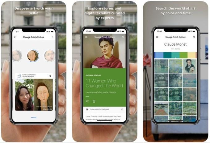 Zrzuty ekranu z aplikacji Google Arts & Culture