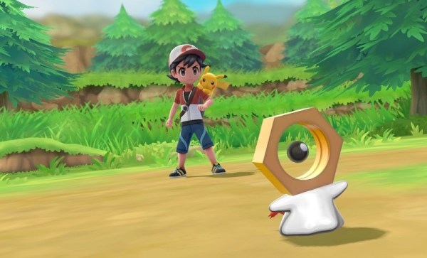 Pokemon Meltan z głową w kształcie śruby, w grze Pokémon Go