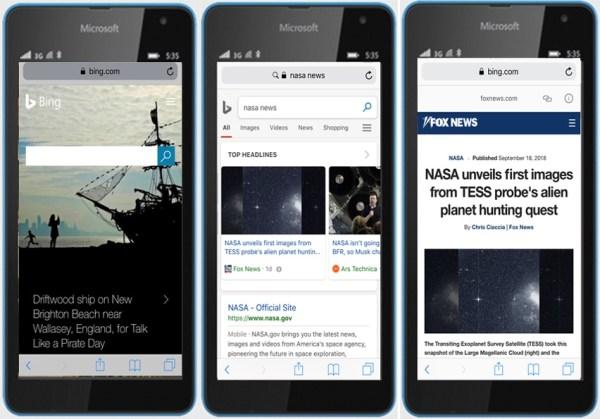 Bing pokazuje w mobilnych wynikach wyszukiwania strony AMP