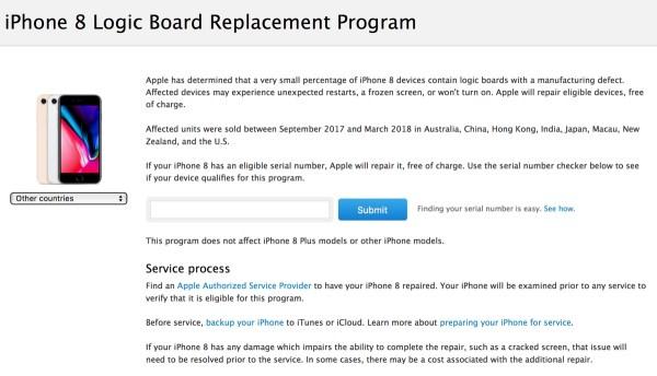 Program wymiany płyty głównej dla iPhone'ów 8