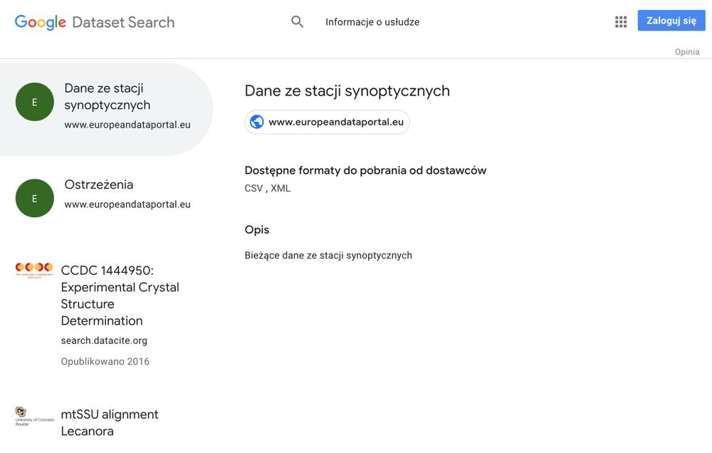 Screen z dataset Serach - wyniki wyszukiwania