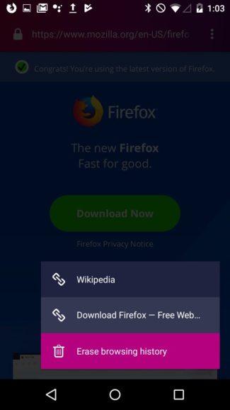 Firefox Focus (Android 9 Pie) - menu kontekstowe