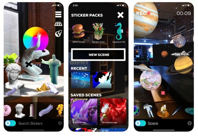 Zrzut ekranu z aplikacji mobilnej: GIPHY World: AR GIF Stickers