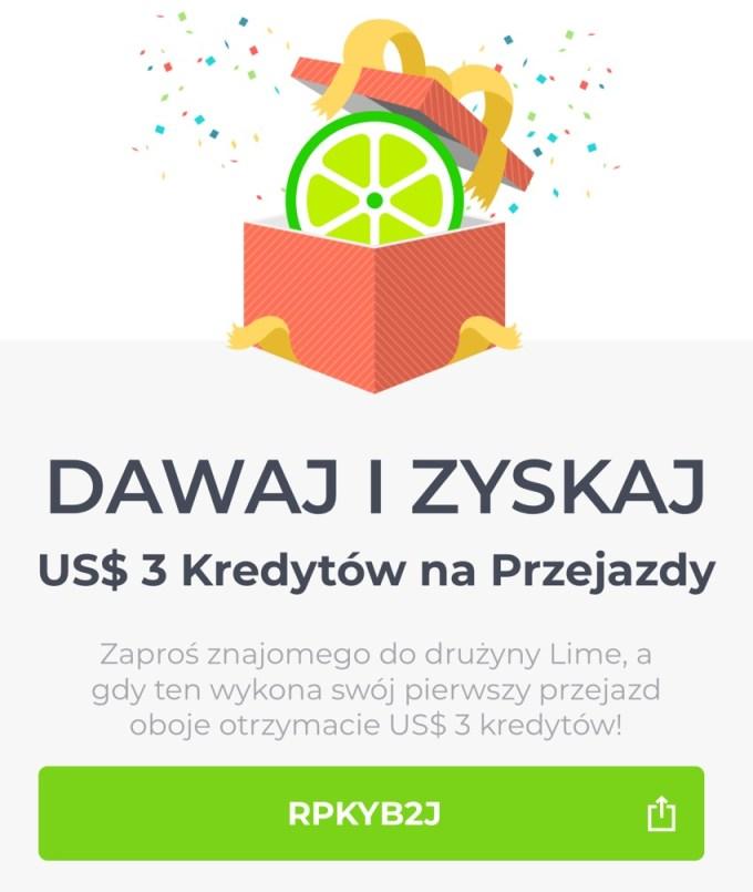Kod promocyjny LIME 3 $ na pierwszy przejazd