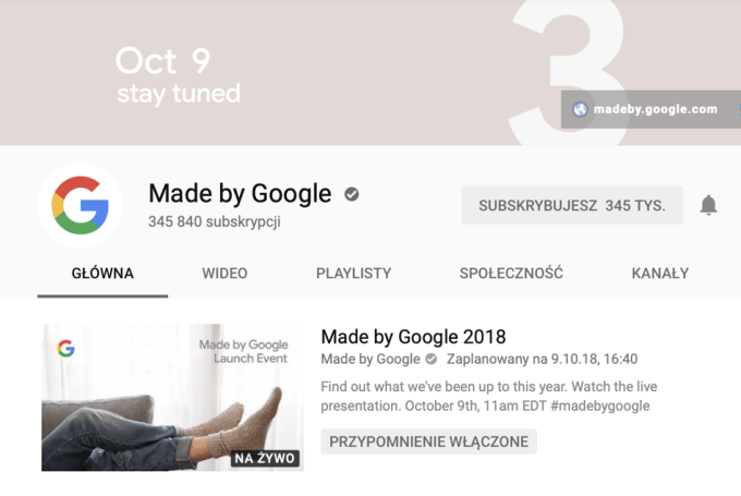 Zrzut ekranu z oficjalnego kanału made by Google na YouTube'ie