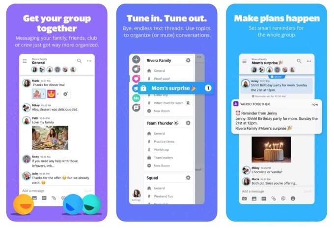 Zrzuty ekranu z aplikacji mobilnej Yahoo Together