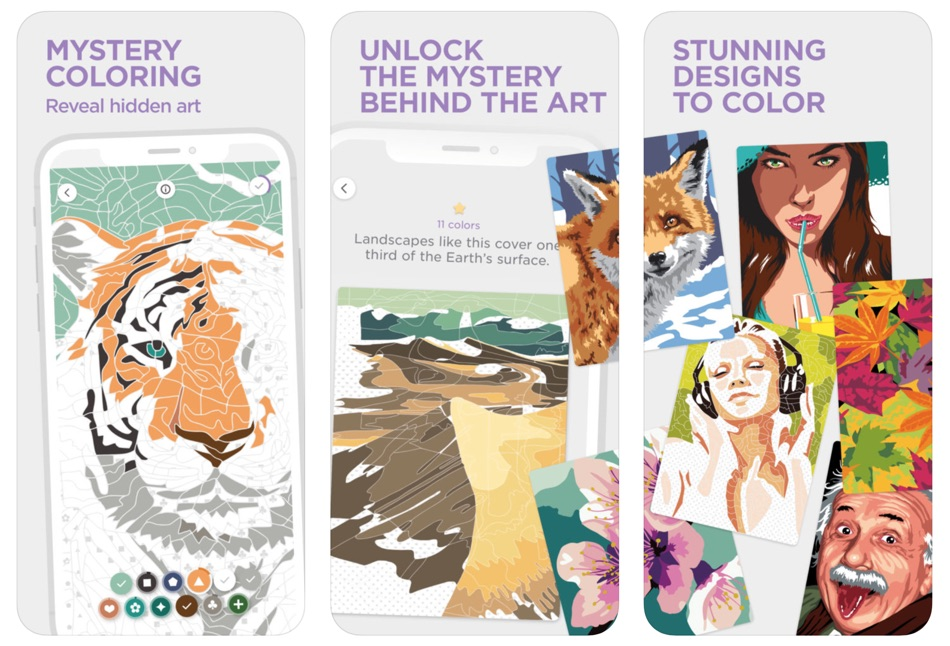 "Zrzuty ekranu z aplikacji ""Bloom – Mystery Coloring"""