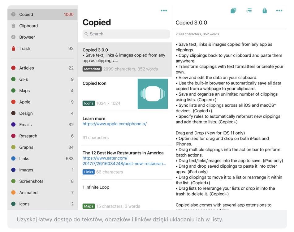"""Zrzut ekranu z aplikacji """"Copied"""" na iPada"""
