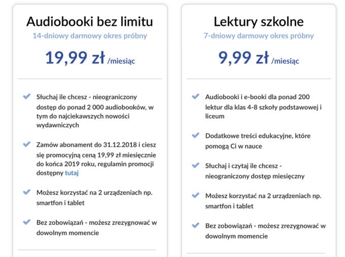 Cennik Audiobooki bez limitu w EmpikGO (stan na 10 listopada 2018 r.)