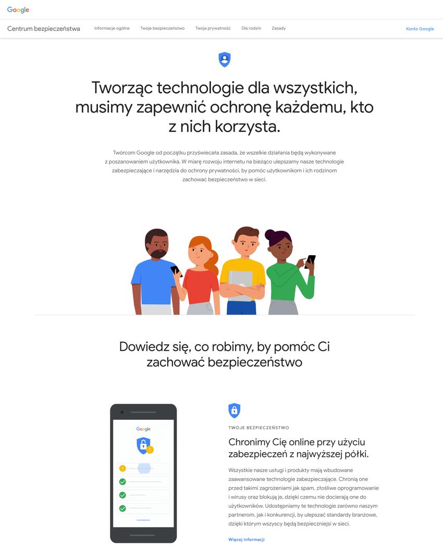 Zrzut ekranu z Centrum Bezpieczeństwa Google'a