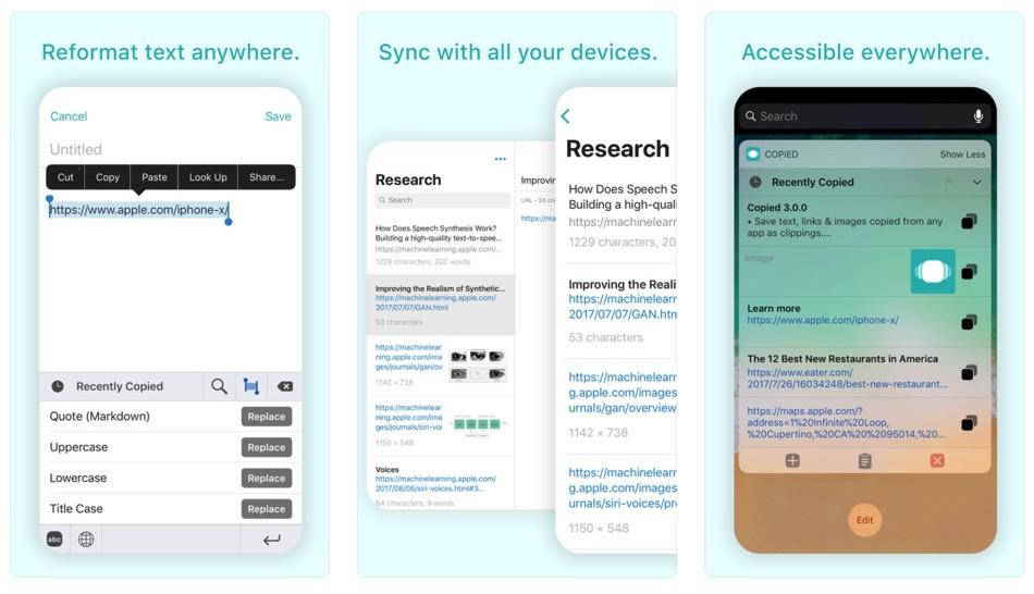"""Zrzuty ekranu aplikacji """"Copied"""" na iPhone'a"""