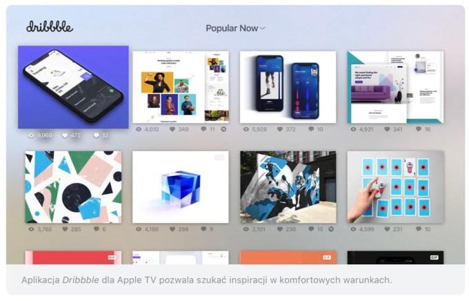 Dribbble - zrzut ekranu z iPada