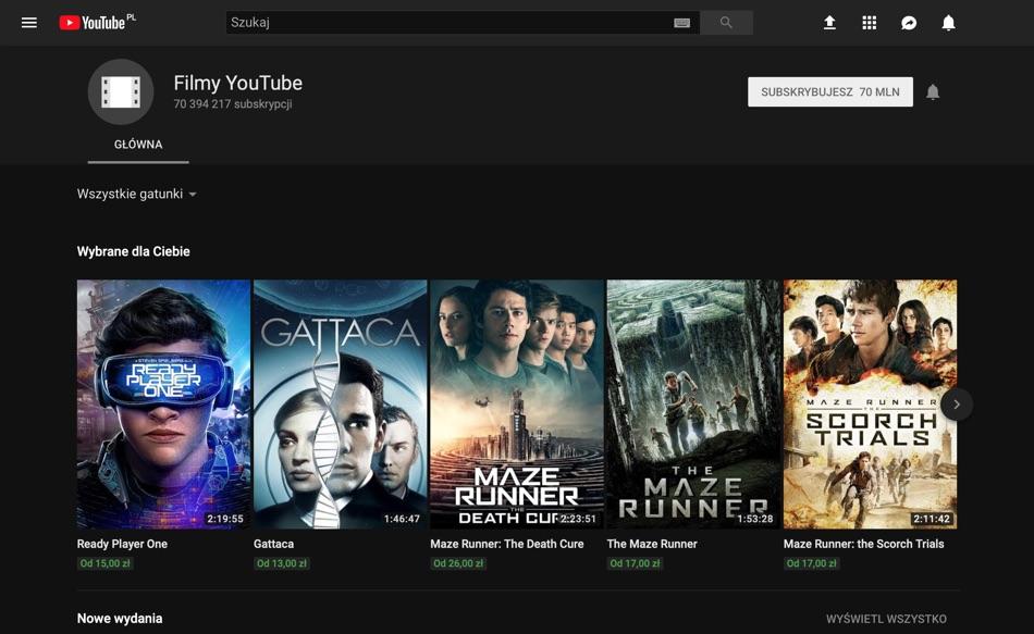 Zrzut ekranu z kanału Filmy YouTube