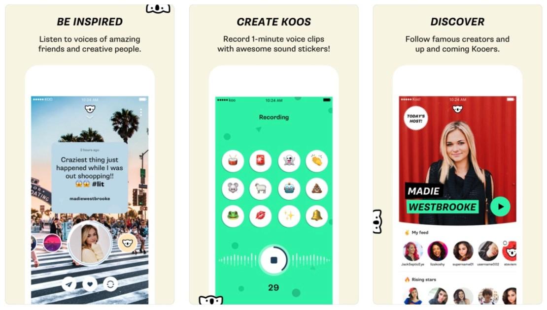 Zrzuty ekranu z aplikacji mobilnej Koo!