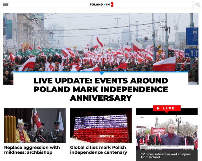 Zrzut ekranu ze strony kanału Poland In (11 listopada 2018)