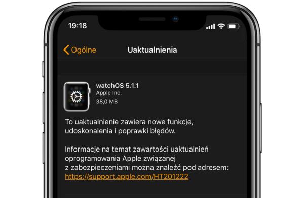 Aktualizacja watchOS 5.1.1 z poprawkami problemów z Apple Watcha