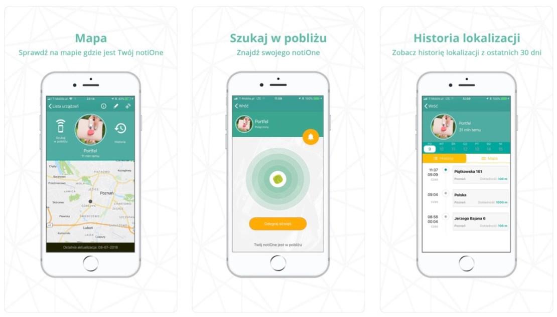 Zrzuty ekranu z aplikacji mobilnej notiOne