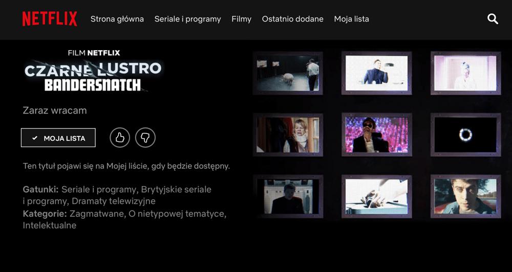 """""""Czarne lustro – Bandersnatch"""" (zrzut ekranu z serwisu Netflix)"""