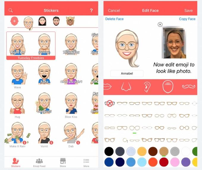Zrzut ekranu z aplikacji mobilnej Emoji Me Animated Faces