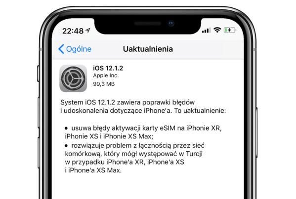 iOS 12.1.2 z poprawkami aktywacji karty eSIM