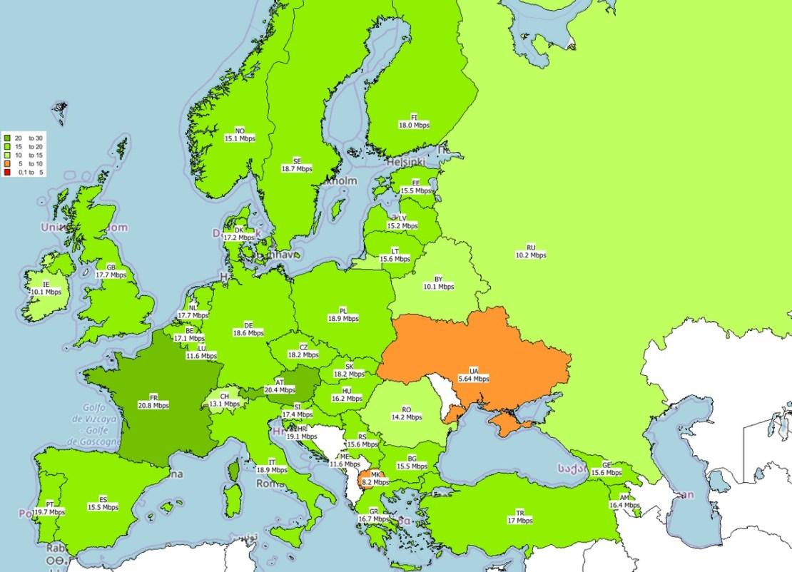 Mapa szybkości internetu mobilnego w Europie (3Q 2018) – pobieranie danych