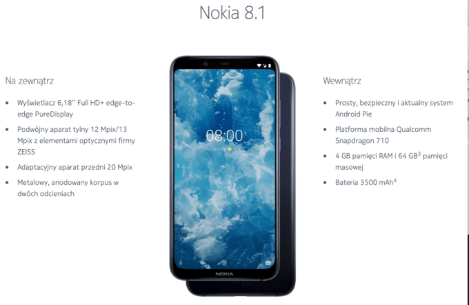 Specyfikacja smartfona Nokia 8.1