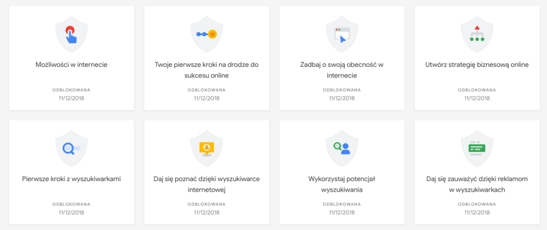 """Przykładowe odznaki możliwe do zdobycia podczas kursu: """"Podstawy marketingu internetowego"""""""