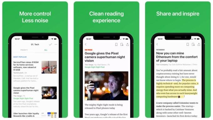 Zrzuty ekranu zaktualizowanej aplikacji mobilnej Feedly