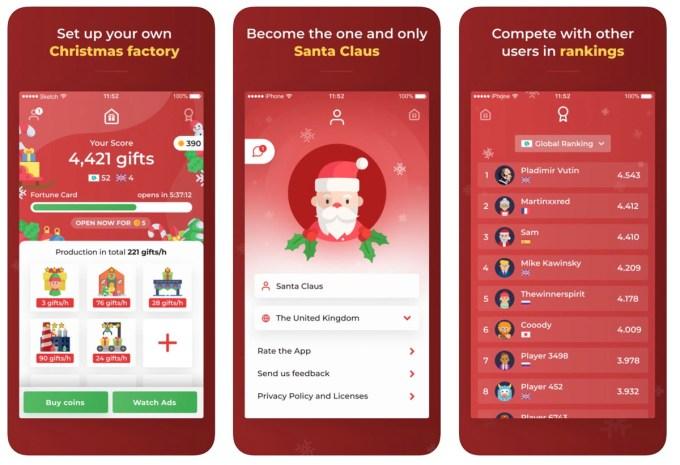 """Zrzuty ekranu z gry mobilnej """"Santa Claus - Christmas Tycoon"""""""