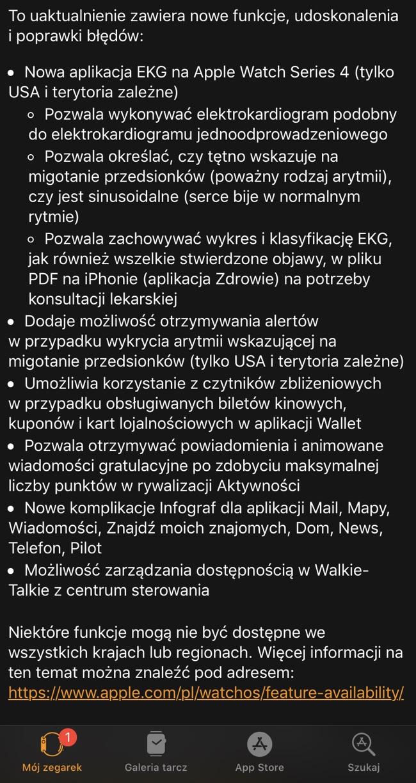 watchos 5.1.2 - lista nowości
