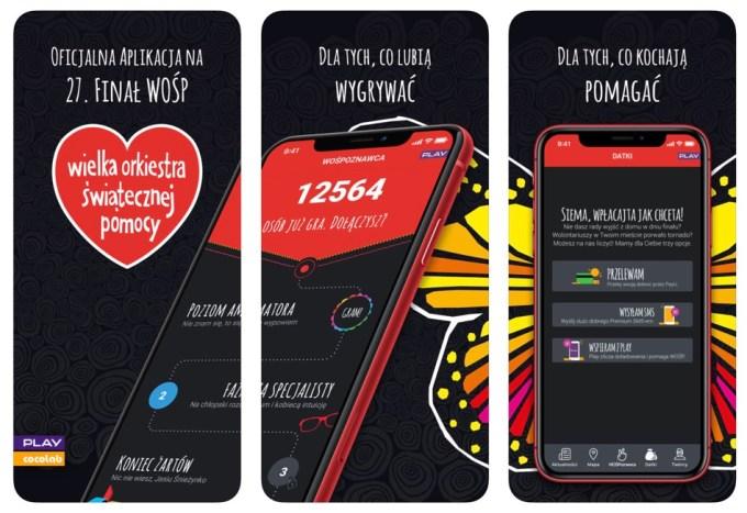 Zrzuty ekranu z aplikacji mobilnej 27. Finału WOŚP