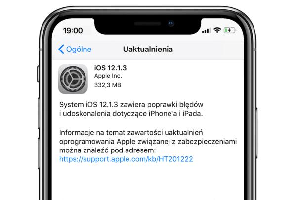iOS 12.1.3 dostępny do pobrania na iPhone'y i iPady