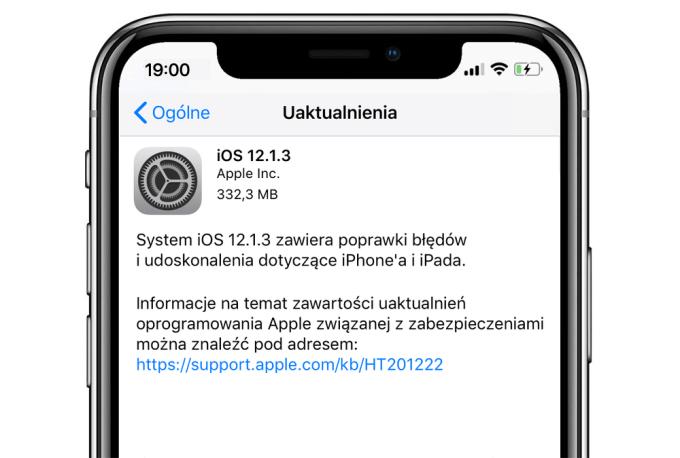 Uaktualnienie iOS 12.1.3 (OTA iPhone XR)