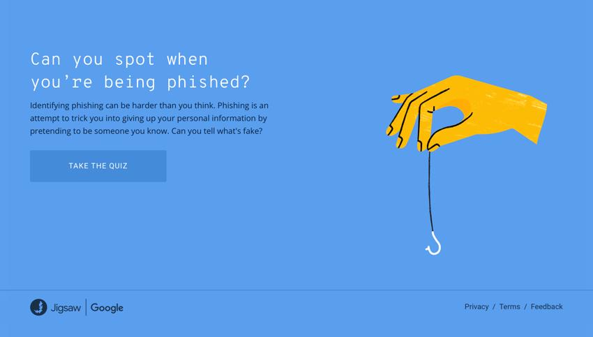 Zrzut ekranu strony phishingquiz.withgoogle.com