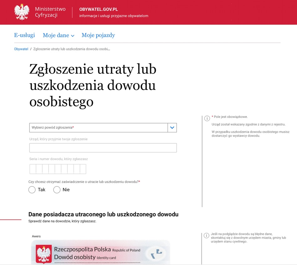 Zgłoszenie utraty lub uszkodzenia dowodu osobistego (screen formularza online)